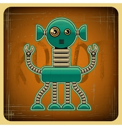 card in retro style with robot vector image