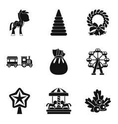 Children carousel icons set simple style vector