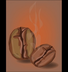 Coffee beans with smoke vector image