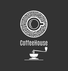 coffee cup logo coffeehouse label with coffee vector image