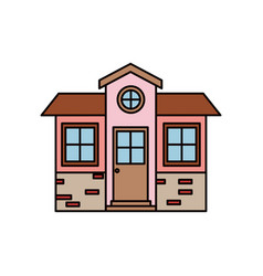 colorful silhouette of small house facade with vector image
