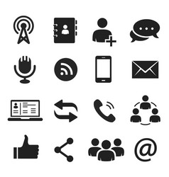 communication icons for internet chat and social vector image