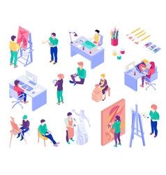 Creative professions isometric people set vector