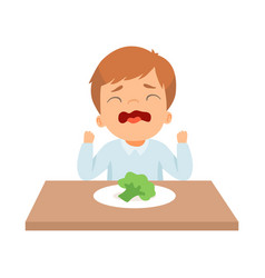 Crying little boy refusing to eat broccoli kid vector