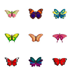 different butterfly icons set flat style vector image