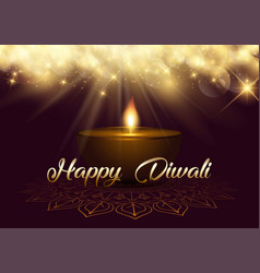Diwali background with bokeh lights and oil lamp vector