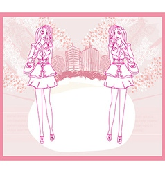 Doodle fashion girl Shopping - abstract pink card vector