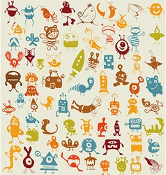 Doodle monsters background vector image