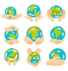 Earth hands set vector image