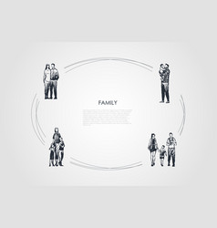 family - couple hugging each other father holding vector image