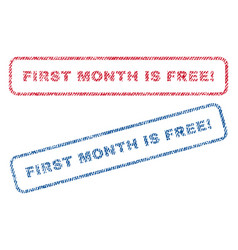 First month is free exclamation textile stamps vector
