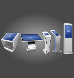 Five promotional interactive information kiosk vector
