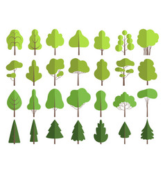 flat green trees nature plants clean shaping vector image