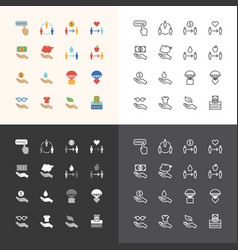 Flat icons set donate concept vector
