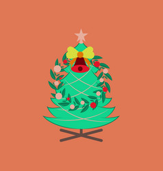 Flat on background of christmas fir vector