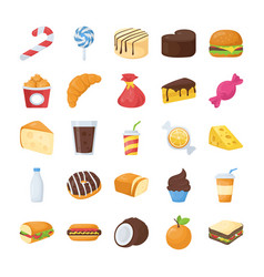 Food and drinks flat icons vector