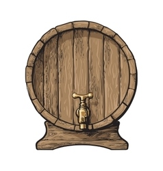 Front view of sketch style wooden barrel with tap vector image
