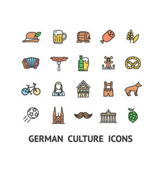 german culture sign color thin line icon set vector image