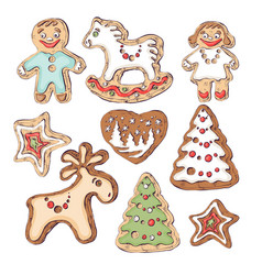 gingerbread cookies for christmas little people vector image