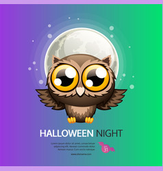 halloween night greeting card with owl vector image