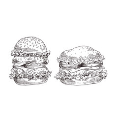 hamburgers set with juicy meat and fresh salad vector image