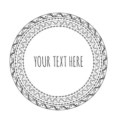 Hand drawn round frame tribal boho vector
