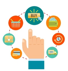 Hand with online shopping icons vector image