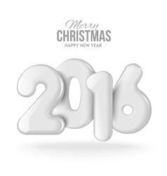 Happy new 2016 year Realistic 3D balls vector image