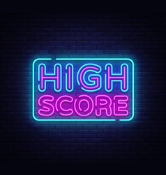 High score neon text high score neon sign vector