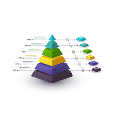 Infographic pyramid with step structure and with vector