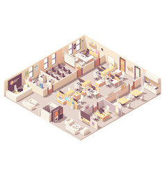 Isometric office interior plan vector
