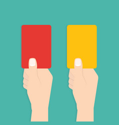 judge hand with red and yellow card football vector image