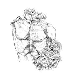 Laocoon torso with flowers vector