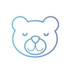 Line cute teddy bear head design vector
