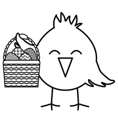 little chick with eggs painted in basket easter vector image