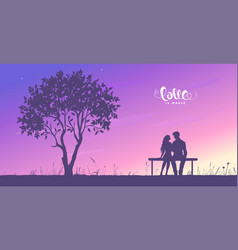 Lovers couple sunset vector