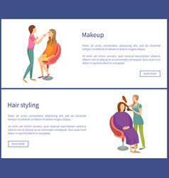 Makeup and visage hair styling posters set vector