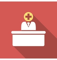 Medical bureaucrat flat square icon with long vector