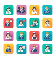 Medicine Doctors and Nurses Icons Set vector image