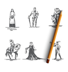 medieval characters - knight troubadour vector image
