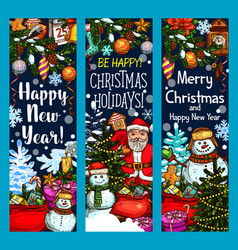 merry christmas santa gifts sketch banners vector image
