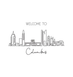 one continuous line drawing columbus city skyline vector image