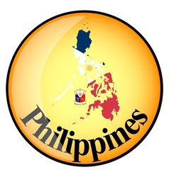 Orange button with the image maps of Philippines vector