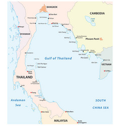 Outline map gulf thailand vector
