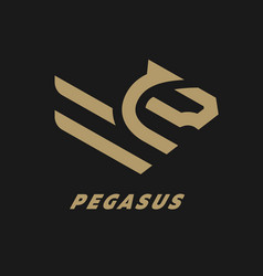 Pegasus flying horse linear logo on a dark vector