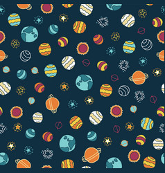 Planets and stars seamless background vector