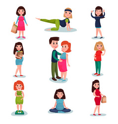 Pregnant women characters in different poses set vector
