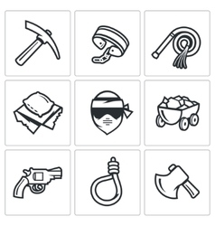 Quarry and slavery icons set vector