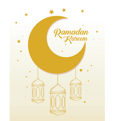 Ramadan kareem card with lanterns hanging and moon vector