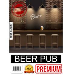 realistic pub interior poster vector image